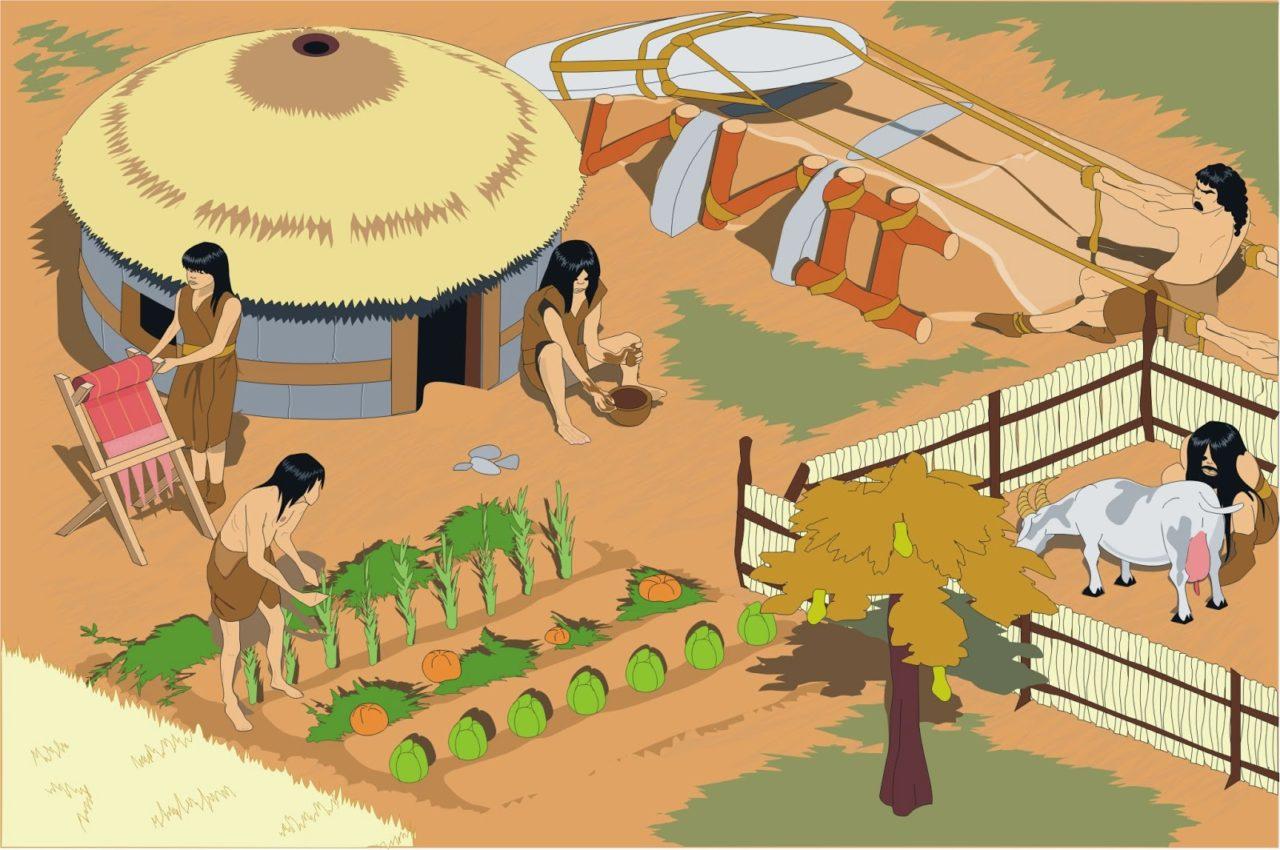 Ilustración de la vida cotidiana en el Neolítico. uente: INTEF/ Ilustrador: José Alberto Bermúdez (CC BY NC SA 3.0)