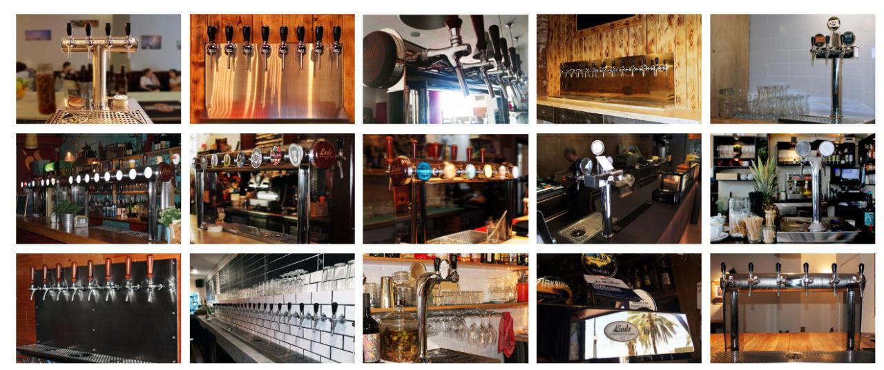 Ejemplos de instalación de grifos y tiradores de cerveza en bares