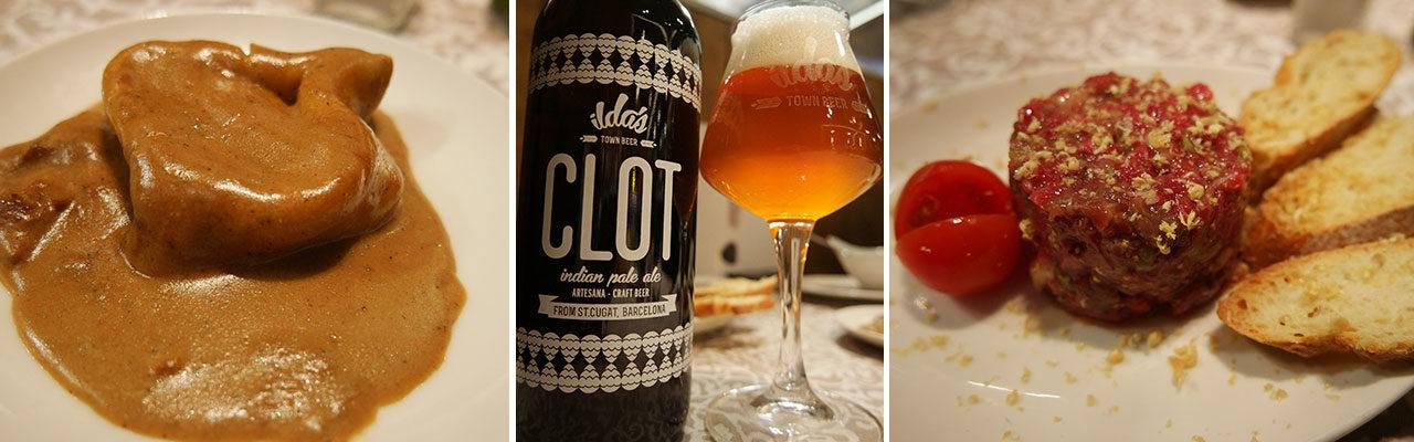Platos excelentes del restaurante Xarlot acompañados por las cervezas artesanas de Ilda's