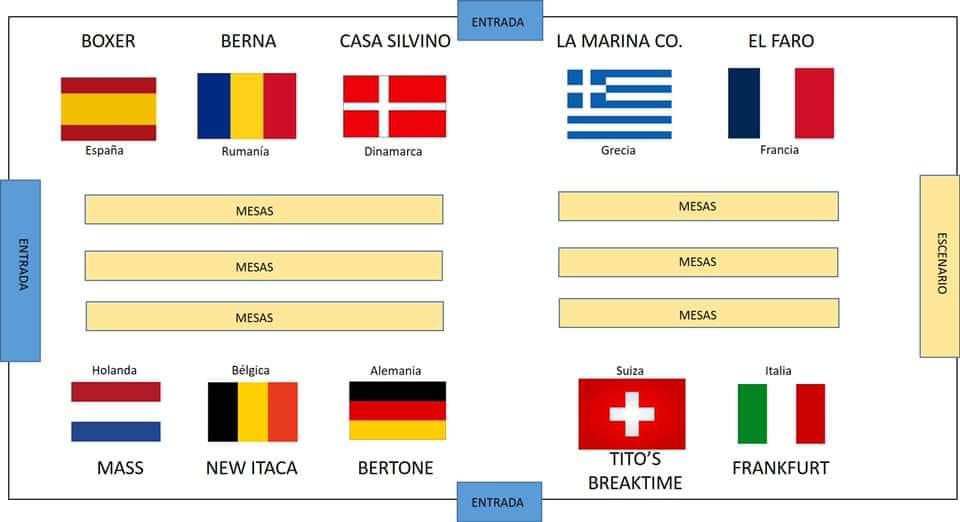 Mapa de los países y cerveza representadas en el festival europeo de la cerveza de Laredo