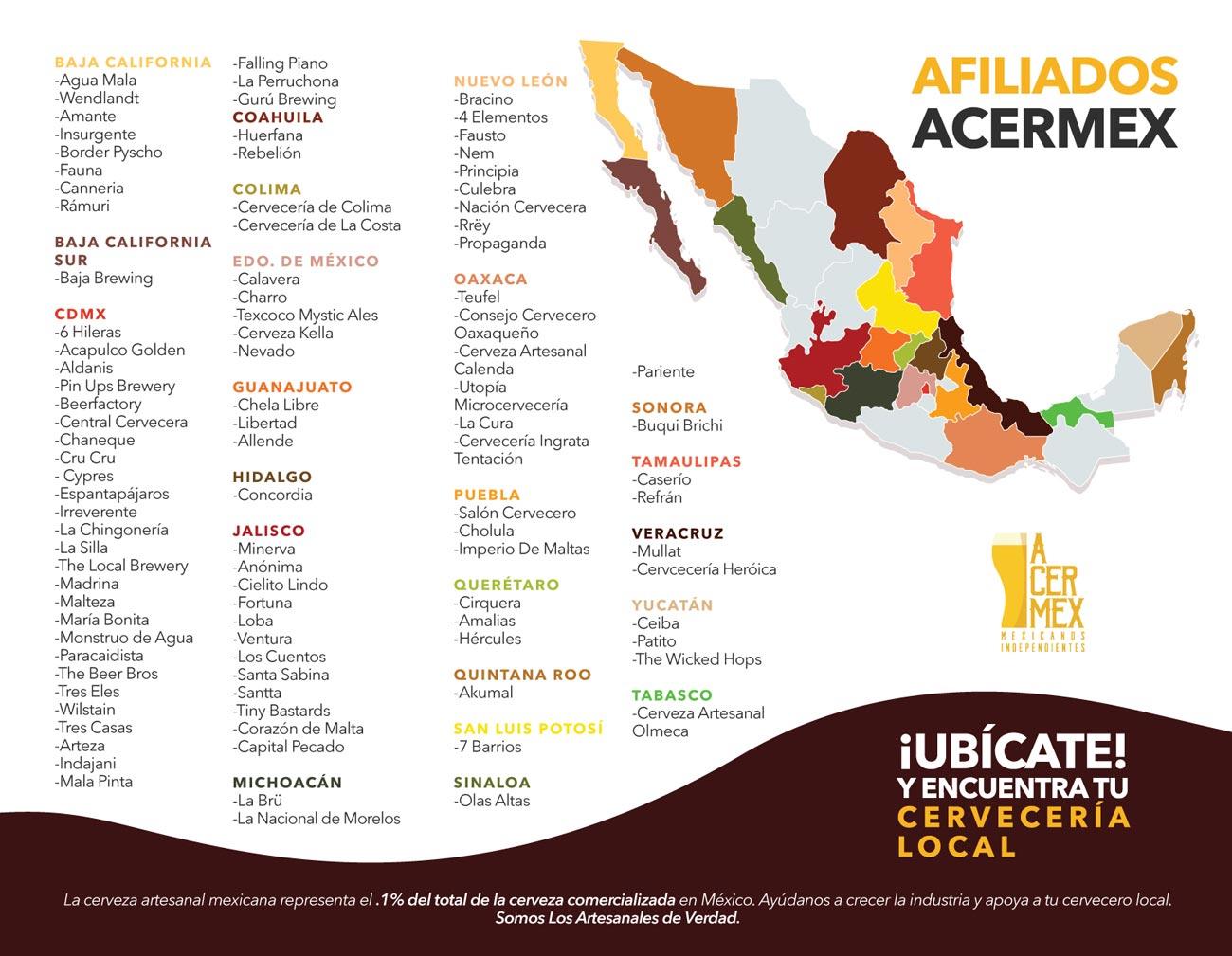 Mapa de las cervecera afiliadas a ACERMEX