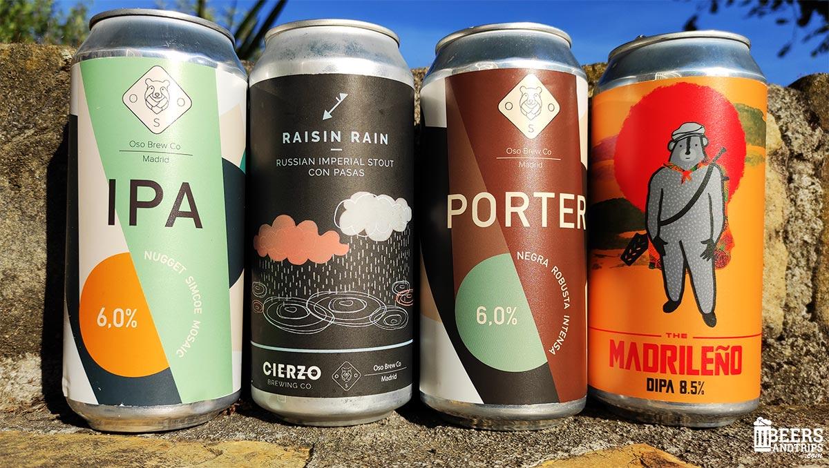 Algunas de las cervezas de Oso Brew Co.