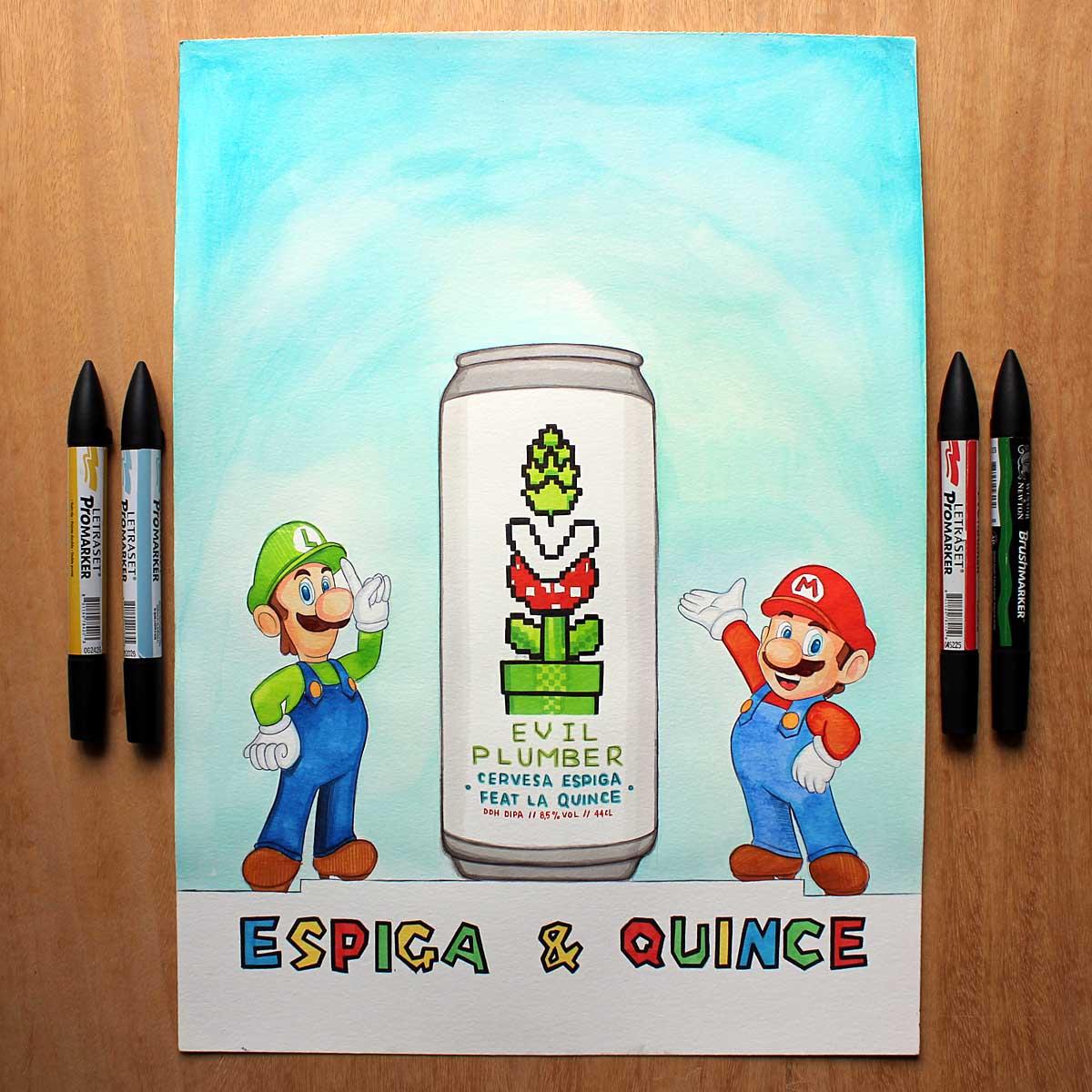 Super Mario Bros. Diseño de Cuando la cerveza no sale de la cabeza. Diseño de El pez que comía lúpulo de Helado de lúpulo de Uno de los diseños de CRAFT BEER SKETCH