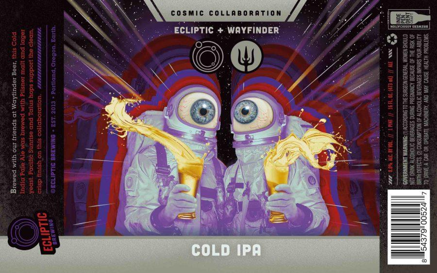 Etiqueta de la COLD IPA colaboración entre Wayfinder Beer y Ecliptic.