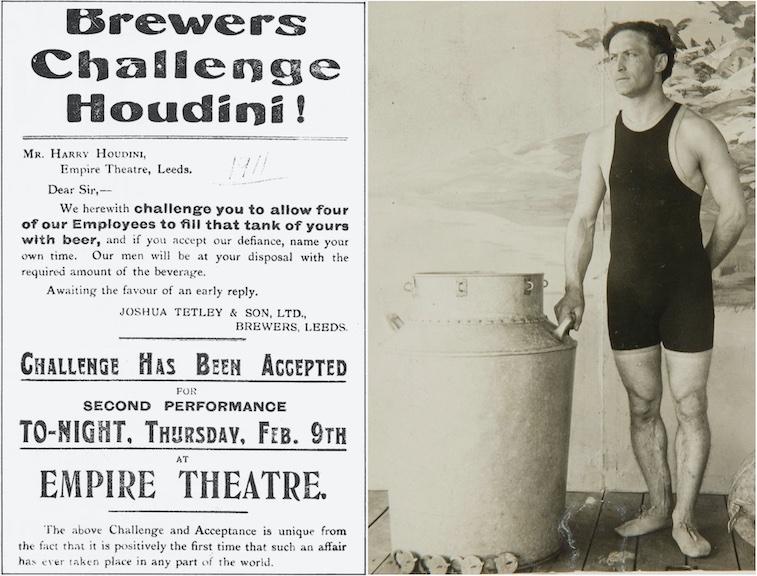 Anuncio en prensa del desafió de Houdini escapando de un barril de cerveza