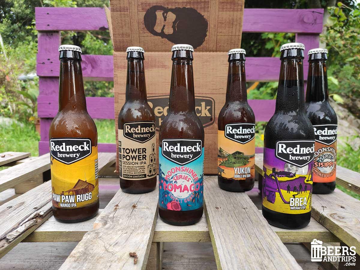 Algunas de las cervezas de Redneck Brewery