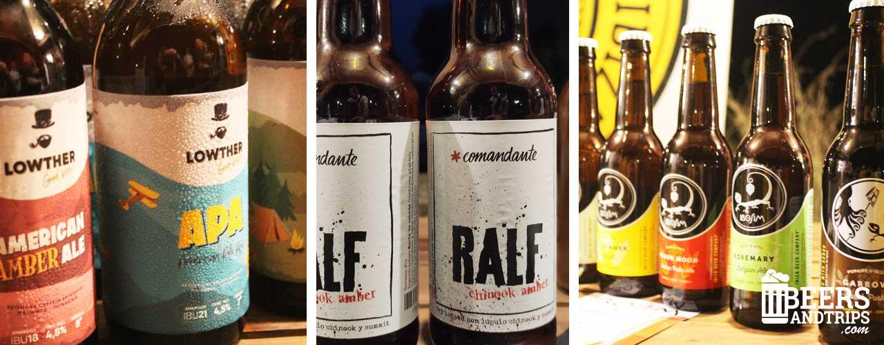 Algunas cervezas artesanas pinchadas durante la 1ª Feria de Cervezas Artesanas de Baleares