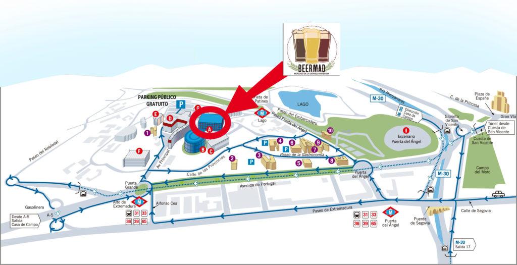Mapa de cómo llegar al Beermad 2021